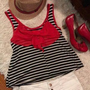 Tops - Black & White Stripes w/ Bow